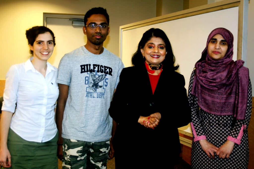 (Left to Right) PhD student Junia Valente, Gunasekar Rajasekar, Dr. Bhavani Thuraisingham, Pallabi Parveen, PhD.