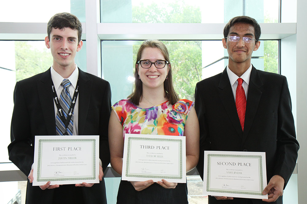 From left: Justin Miller, Taylor Sells and Vasu Jindal took home the top three places in the Undergraduate Research Awards and Poster Contest.