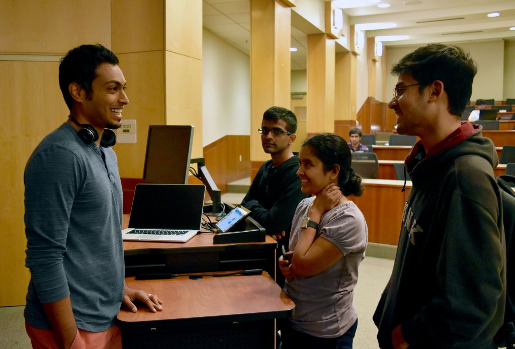 Vishwath Mohan PhD'15, giving some personal advice to CS after his forum.