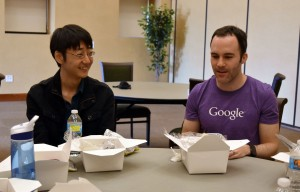 CS2 student talks with Dillion Bly, UT Dallas Alumni and Google Software Engineer.