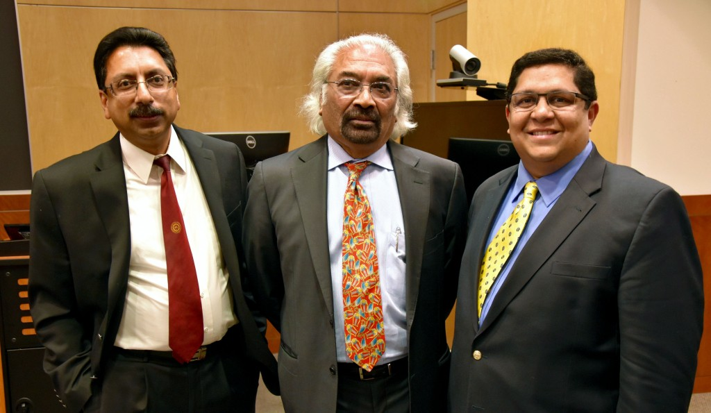 From the left: Drs. Gopal Gupta, Sam Pitroda, and Raj Menon.