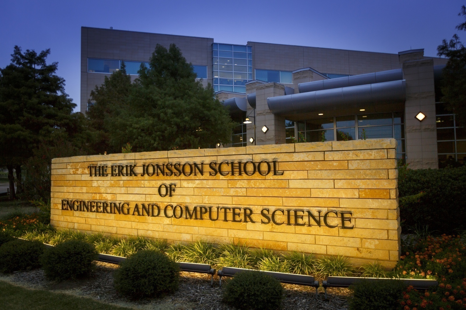Sign outside of the Erik Jonsson School of Engineering and Computer Science building