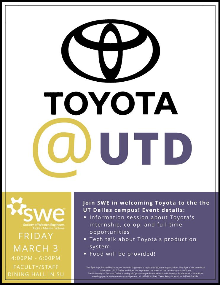 SWE presents Toyota at UTD @ Faculty/Staff Dining Room in SU