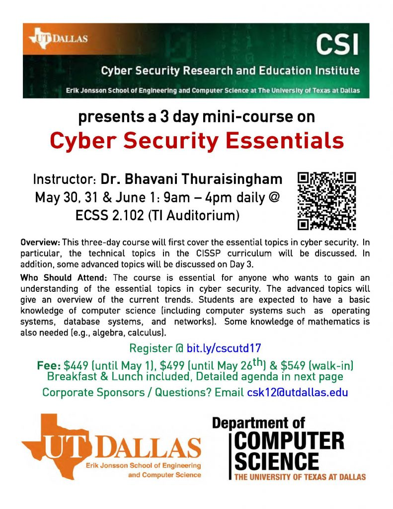 Cyber Security Essentials Mini-Course for Professionals @ ECSS 2.102 (TI Auditorium)