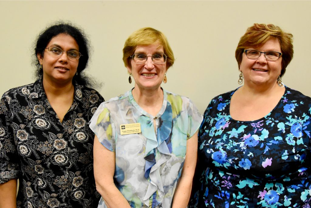 Pictured from the left: Drs. Pushpa Kumar, Peggy Shadduck, and Janell Straach