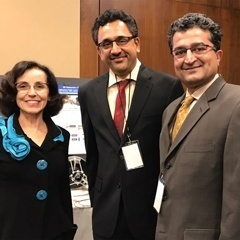 Dr. France A. Córdova (left), Director, NSF, visiting the demonstration. Dr. Balakrishnan Prabhakaran stands next to Córdova.