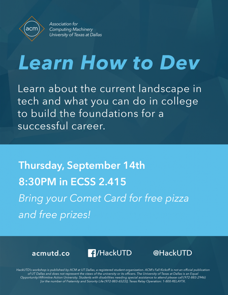 HackUTD | Learn How to Dev Workshop @ ECSS 2.415