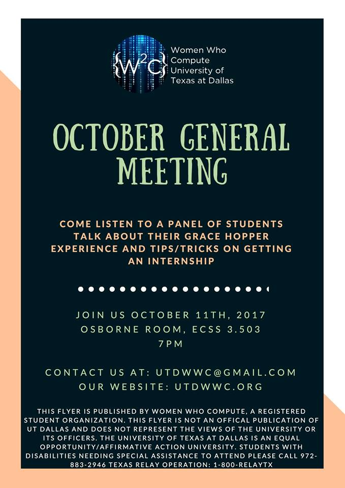 Women Who Compute (WWC) October General Meeting @ ECSS 3.503.