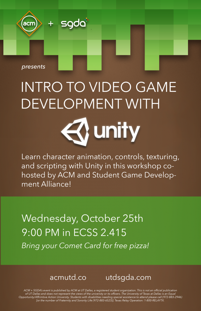 ACM + SGDA: Intro to Video Game Development with Unity @ ECSS 2.415