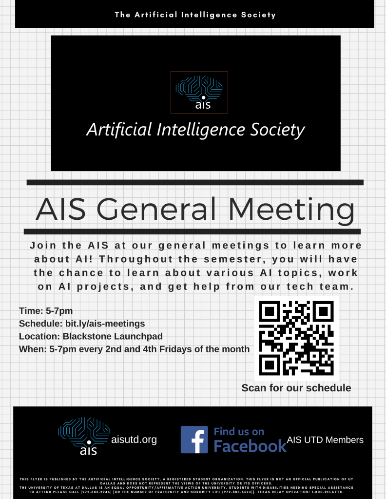 AI Society General Meeting @ Blackstone Launchpad | Richardson | Texas | United States