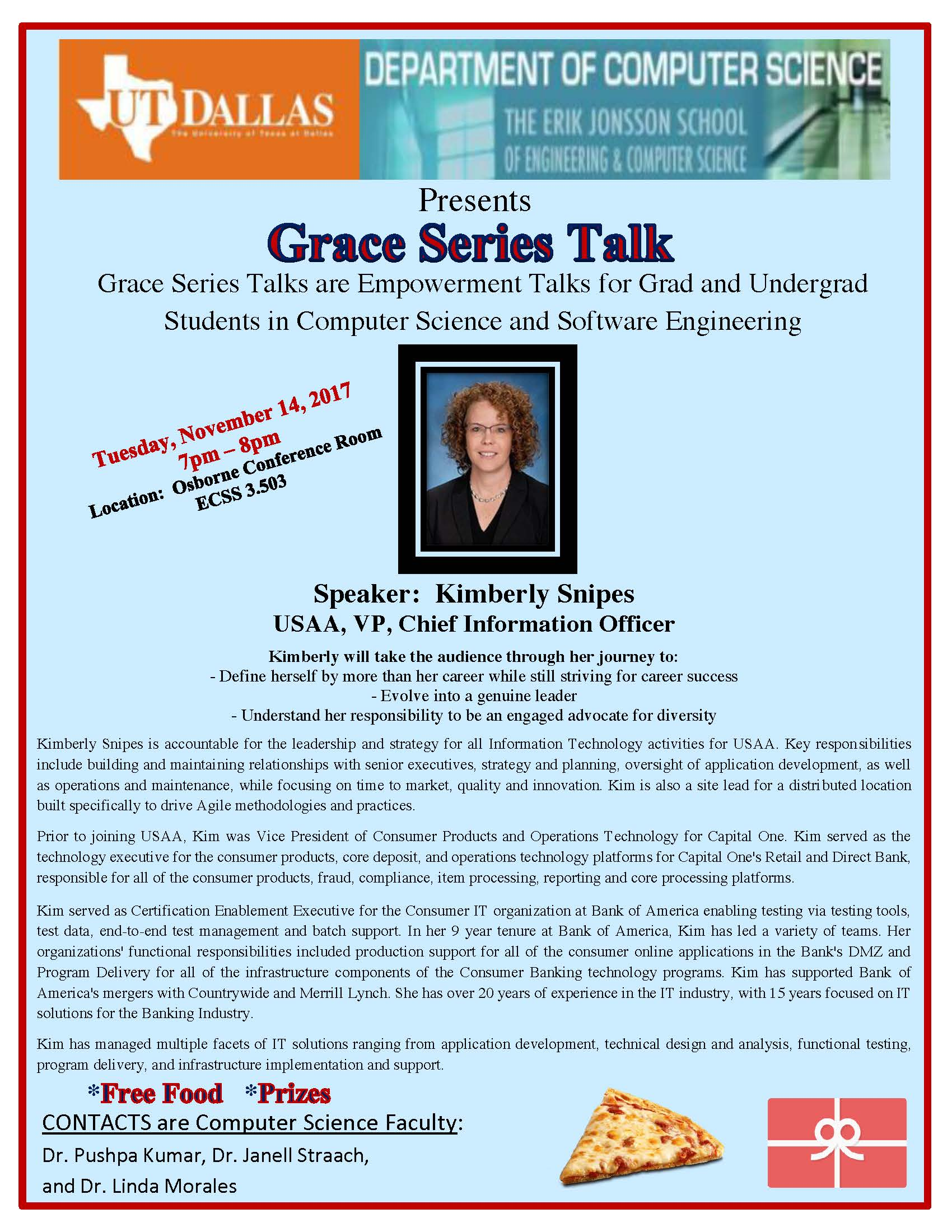 Grace Series Presents: Kimberly Snipes, USAA, VP, Chief Information Officer @ ECSS 3.503 (Osborne Conference Room)