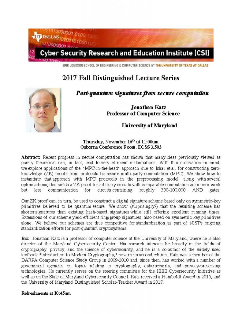 CSI Distinguished Lecture Series Presents: Dr. Jonathan Katz @ ECSS 3.503 (Osborne Conference Room)