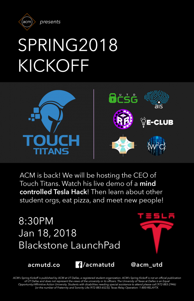 ACM Spring'18 Kick Off + Touch Titans Tesla Hack @ Blackstone Launchpad