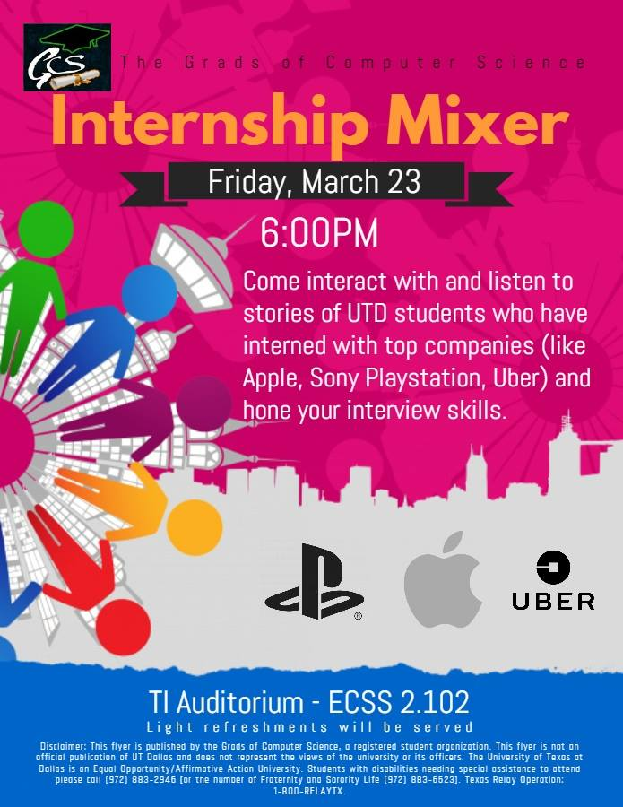 Grads of CS - Internship Mixer @ TI Auditorium - ECSS 2.102