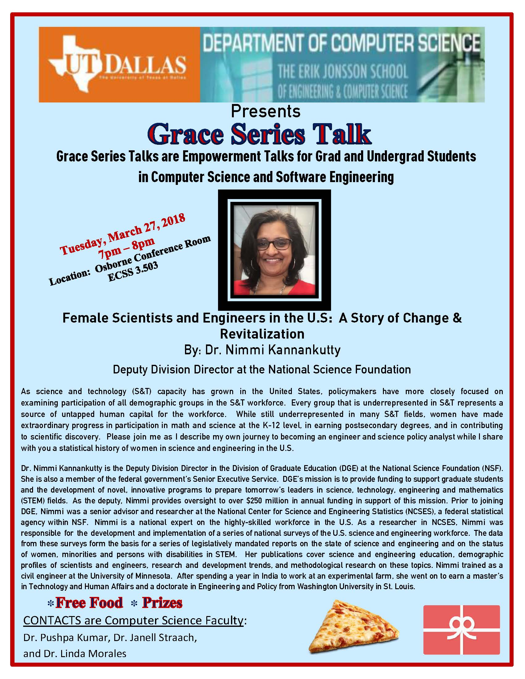 Computer Science Grace Series Presents Dr. Nimmi Kannankutty, Deputy Division Director at the NSF @ ECSS 3.50 (Osborne Conference Room)