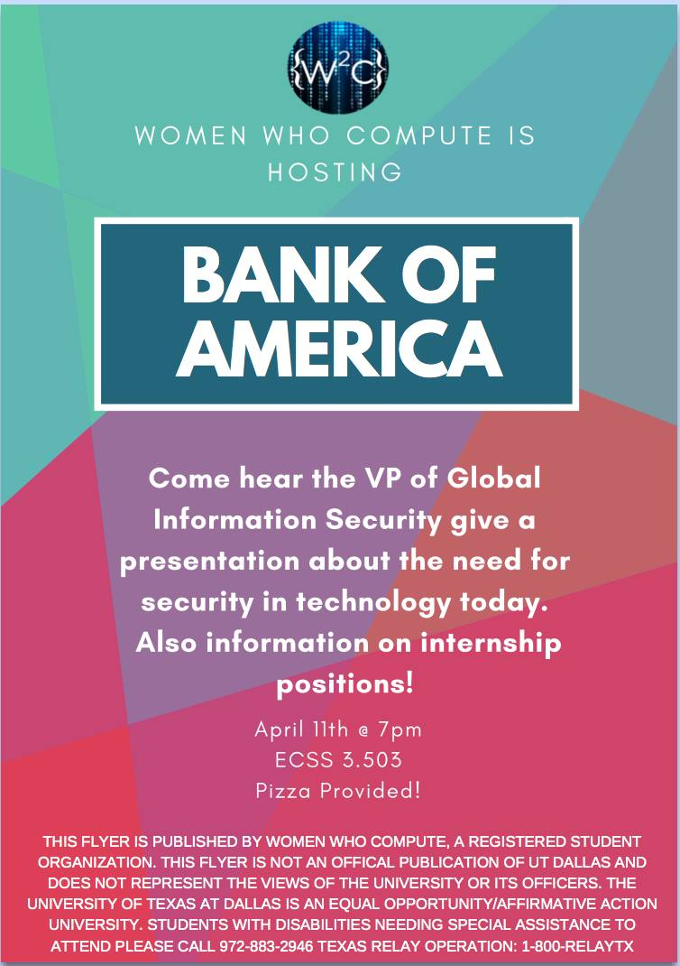 WWC - Cyber Security Tech Talk with the VP of Global Information Security at Bank of America @ ECSS 3.503
