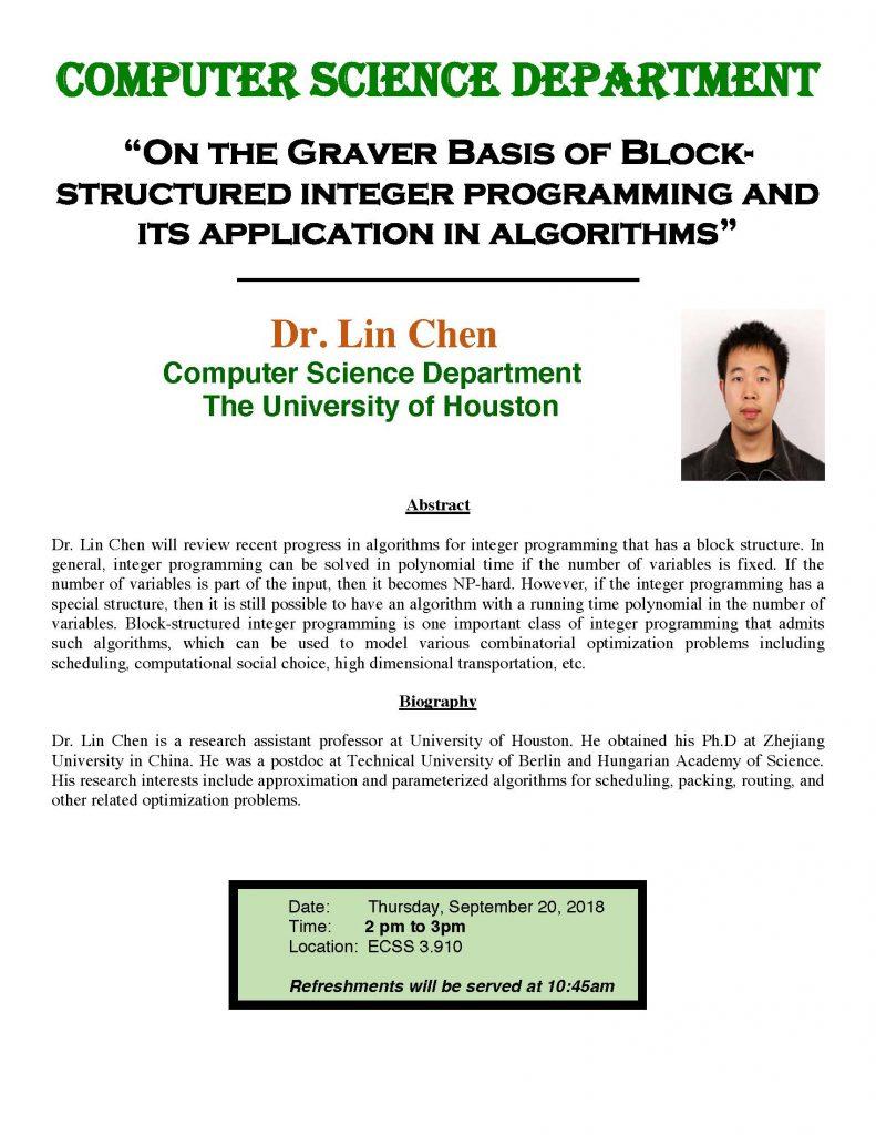 Dr. Lin Chen - UT Dallas Computer Science Colloquium Speaker @ ECSS 3.910