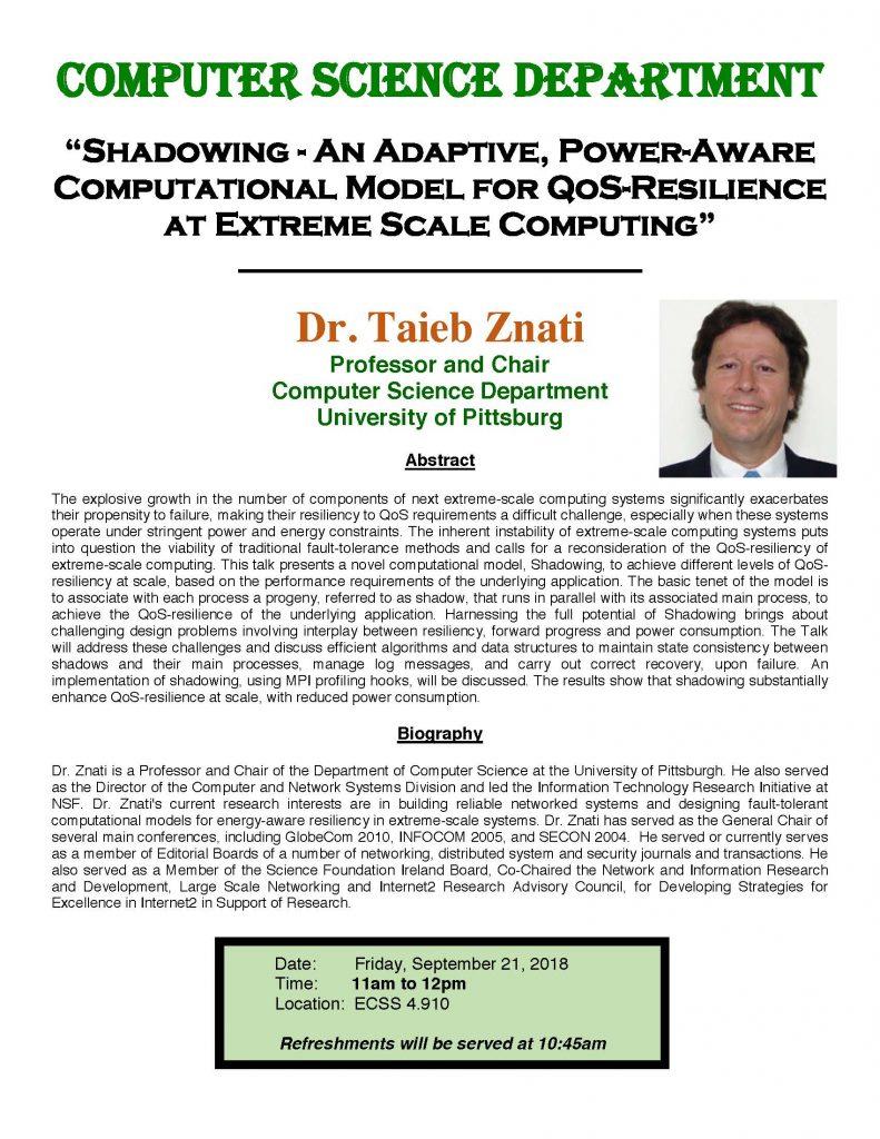 Dr. Taieb Znati - Computer Science Colloquium Speaker @  ECSS 4.910