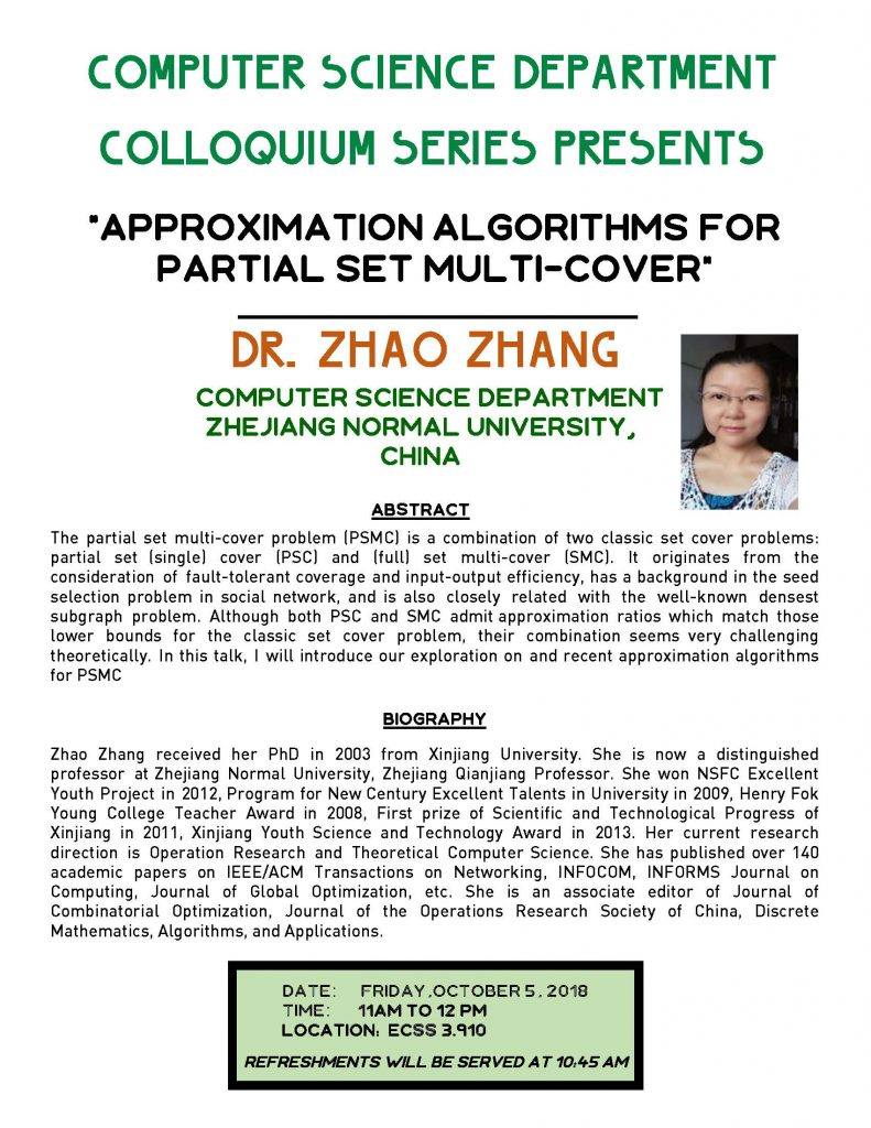 CS Colloquium Series Presents Dr. Zhao Zhang from Zhejiang Normal University, China @ ECSS 3.910