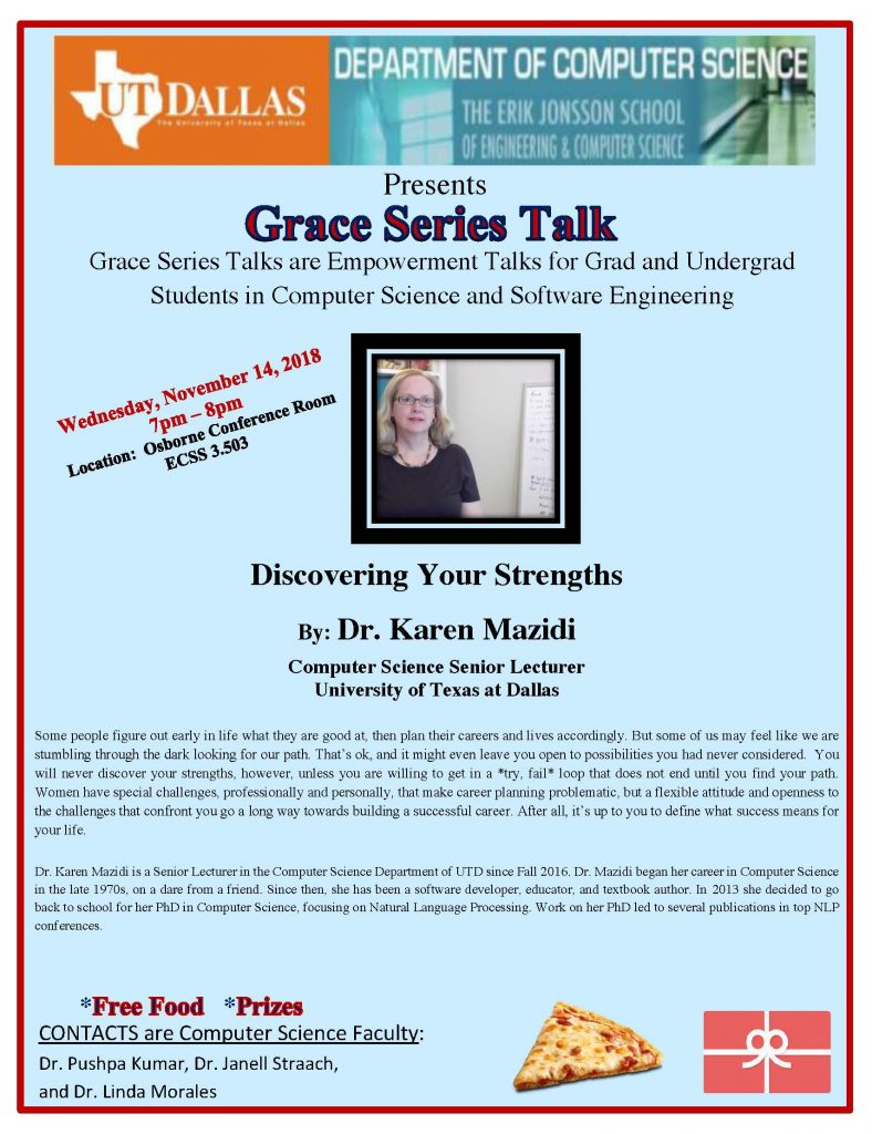 "Grace Series Presents Dr. Karen Mazidi - ""Discovering Your Strengths"" @ ECSS 3.503 (Osborne Conference Room)"