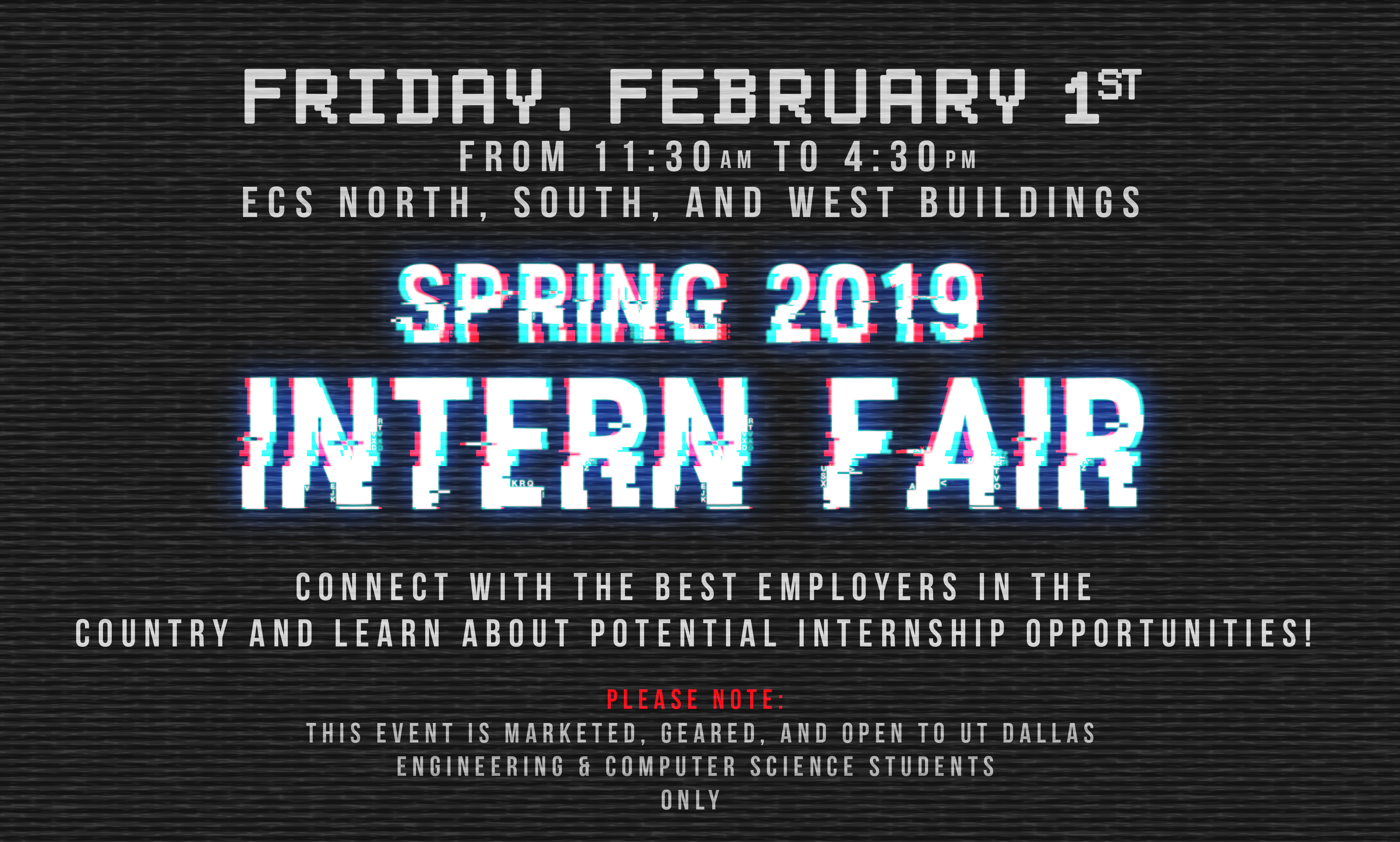 Spring 2019 INTERN FAIR @ ECS South, North, West