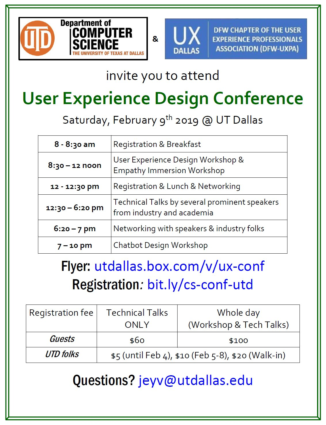 User Experience Design Conference @ UT Dallas ECSS